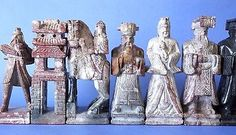 """Vintage Chinese Imperial Chess Set Carved Stone Marble Complete Large 7"""" RARE"""