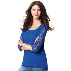 """Bright blue tunic adds a special touch with lace along the sleeves and an easy to wear hi/low hemline.· Body: 60% Cotton, 40% Polyester· Lace: 100% Nylon· Length from center back/neck: 28"""" (medium); 30-1/2"""" (2X)· Machine wash cold on gentle cycle with similar colors; do not use chlorine bleach, only non-chlorine bleach if needed. Tumble dry low and remove promptly; cool iron as needed.· Imported"""