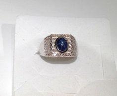 Thai Blue Star Sapphire, Diamond Men's Ring Platinum over Silver Sz 13 | Blue Gemstone Jewelry