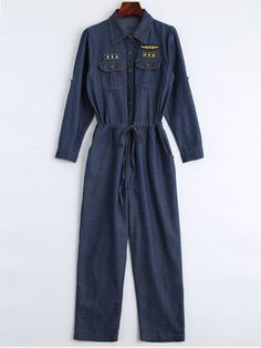 AD : Drawstring Patched Pocket Denim Jumpsuit - DEEP BLUE   Material: Polyester   Material Type: Denim   Fit Type: Regular   Pattern Type: Patchwork   Decoration: Pockets   Style: Casual   With Belt: No   Weight: 0.5300kg   Package: 1 x Jumpsuit