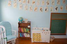 vintage classroom inspiration for nursery, flashcards on walls, green chalkboard, globe, vintage play kitchen
