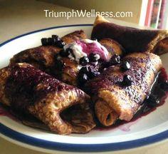 Whole Wheat Vegan Blueberry Blintzes Low Fat Vegan Recipes, Vegan Dessert Recipes, Vegan Breakfast Recipes, Vegan Foods, Vegetarian Desserts, Gourmet Breakfast, Clean Eating Breakfast, Vegan Treats, Vegan Snacks