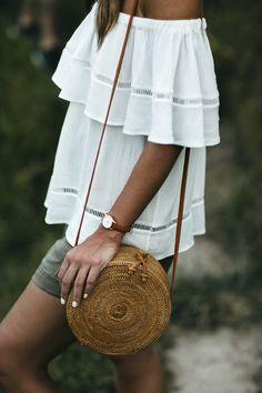 summer blouse, blouse, white blouse, white shirt, bag, summer bag, rafia bag, bali