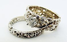 Hand engraved old-world wedding set by Dmitriy Pavlov, available at Studio Jewelers in Madison, WI Matching Wedding Bands, Wedding Sets, Wedding Rings, Old World Wedding, Hand Piercing, Hand Engraving, Timeless Beauty, Handcrafted Jewelry, Bridal Jewelry