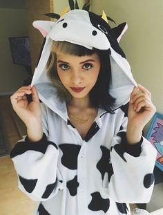 Melanie Martinez dressing up as a cute cow!