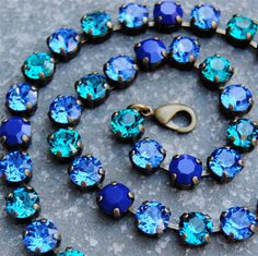 Teal Wedding Something Blue Swarovski Crystal Rhinestone Statement Necklace Crystal Tennis Necklace Teal Sapphire Navy Blue Necklace