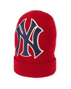 d569068fdbe Gucci Men s New York Yankees MLB Patch Beanie Hat Gucci Beanie