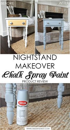 This is such a great review on using Krylon's new Chalk Spray paint! Everything you need to know to use this method of painting furniture and accessories with a spray chalk paint. Get more information on http://ablissfulnest.com/ #chalkpaint #tablemakeover #diyfurniture