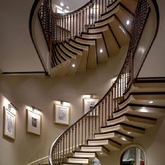 Another beautiful staircase. My dream home will have a turret of some type because I want to evoke a medieval castle or Tuscan villa feel. Ideally it will be used as a library/office, but a spiral staircase would be a striking feature as well. Grand Staircase, Staircase Design, Luxury Staircase, Winding Staircase, Staircase Ideas, Spiral Staircases, Curved Staircase, White Staircase, Staircase Pictures
