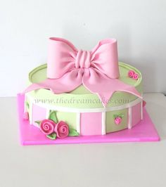 Bright birthday gift boxes cakes cake decorating daily pink bow and roses gift box cake all edible negle Image collections