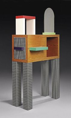 """Emerald"" sideboard/console by Nathalie du Pasquier 1985. w.100 d.40 h.190 cm plastic laminate, wood, and mirror."