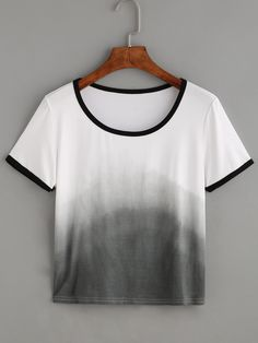 Shop Ombre Contrast Trim T-shirt online. SheIn offers Ombre Contrast Trim T-shirt & more to fit your fashionable needs.