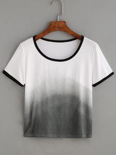 Shop Ombre Contrast Trim T-shirt online. SheIn offers Ombre Contrast Trim T-shirt & more to fit your fashionable needs.