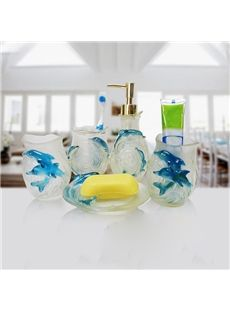 Luring Lovely Dolphin Style 5-piece Bathroom Accessories #bathroom #decor