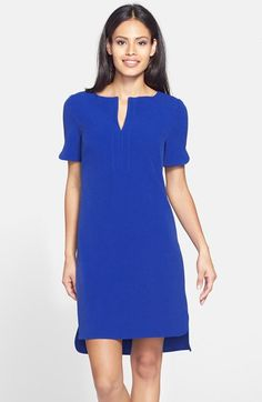 Free shipping and returns on Adrianna Papell Split Front Shirttail Shift Dress (Regular & Petite) at Nordstrom.com. Lavish attention to detail including a notched neckline, split sleeves and an exposed back zip tempers the menswear influence of this easy shirtdress.