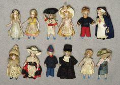 The 1912 SFBJ catalogue (Société Française de Fabrication de Bébés et Jouets) presented an extraordinary collection of Lilliputiens, all bisque dolls, standing 6 cm, with historical, folk or carnival costumes.