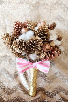 pinecone bouquet - winter or Christmas wedding? Christmas Wedding Bouquets, Flower Bouquet Wedding, Floral Wedding, Whimsical Wedding, Bridesmaid Bouquet, Gold Wedding, Bridesmaids, Winter Wedding Colors, Winter Wedding Inspiration