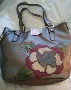 42900e945e98 RELIC Metallic Purse Tote Bag with Large Flower Accent - NEW - MSRP  64   Relic