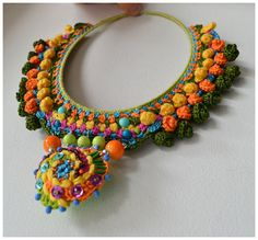 statement necklacefree form crochet bib multi color by Marmotescu,