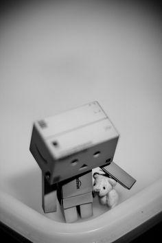 Danbo with teddy bear~  by Lummmy, via Flickr