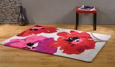 Tappeto floreale beige rosso e fuchsia