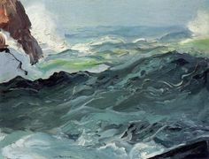 George Bellows, Wave.    Creation thou dost work by faint degrees, / By shade and shadow from unseen beginning; / Far, far apart, in unthought mysteries / Of thy own dark, unfathomable seas, / Thou will'st thy will; and thence, upon the earth— / Slow travelling, his way through centuries winning— / A child at length arrives at never ending birth.  - George MacDonald