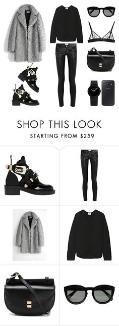 """""""Mixing Textures"""" by fashionlandscape ❤ liked on Polyvore featuring Balenciaga, Yves Saint Laurent, Zadig & Voltaire, Acne Studios, Chloé, CÉLINE, Kriss Soonik and Samsung"""