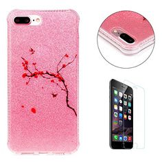 CaseHome iPhone 7 Plus 5.5' Weich H�lle (Mit Freiem HD Schirmschutz) Gummi Sto�festes Skidproof Ultra d�nn TPU Silikongel Profect Schutz F�r Apple iPhone 7 Plus 5.5' H�lle Shell Stilvoll Elegant Sch�n funkelnd Cool Glitzer Luxus TPU iPhone 7 Plus 5.5'-Peach Zweige