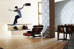 Every space in this house is designed to be skateable. This is my dream home!