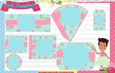 Kit Festa Floral no Elo7 | Marla Personalizados (2BC225) Shabby Chic, Soap Making, Making Ideas, Floral, Cone, Kids Rugs, Map, Water Art, Mint To Be