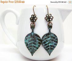 20% OFF Blue Verdigris Mint Leaf Earrings  by AVeryCoolEarringShop