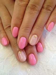 Two-Tone Pink Manicure With Gold Rivets