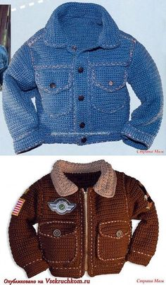 """Crochet boys jackets: Diary of the """"Knitting for Kids"""" group - Country Mom[] Baby Boy Knitting, Knitting For Kids, Baby Knitting Patterns, Crochet Patterns, Crochet Baby Jacket, Crochet Baby Clothes, Mode Crochet, Knit Crochet, Crochet Cardigan"""