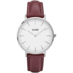 CLUSE Women's La Boheme Silver Leather Strap Watch , Burgundy/White ($97) ❤ liked on Polyvore featuring jewelry, watches, boho jewelry, white watches, white leather strap watches, white wrist watch and white strap watches
