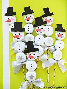 .: Schneemann Basteln mit Kronkorken