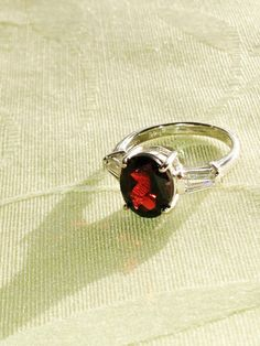 Garnet Ring With White Topaz Baguettes by NorthCoastCottage