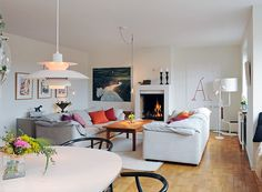 Living RoomLiving Room Designed With Scandinavian Style Also Modern Fireplace 2015 Grey White Sofa Beautiful Patterned Flooring Pendant And Colorful
