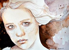 A windy moment - Watercolor Portraiture Paintings by Jane Beata  <3 <3