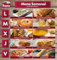 #Menú semanal de #recetas #LaMasía del 26 al 30 de diciembre.