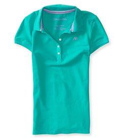 NYC AEROPOSTALE Aero Womens A87 Pique Polo Shirt Uniform Size M Dreamy #Aropostale #PoloShirt #Casual
