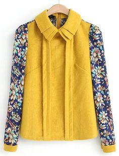 Yellow Lapel Contrast Floral Long Sleeve Blouse - Sheinside.com