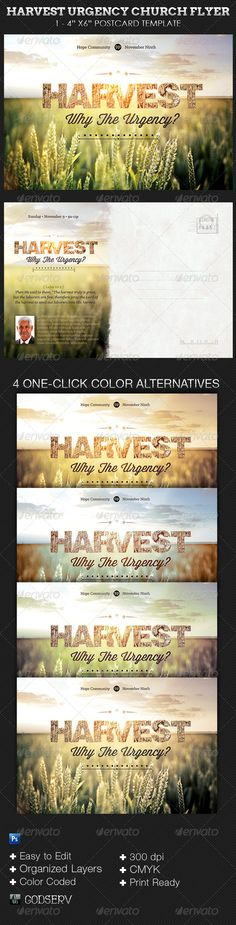 Harvest Urgency Church Flyer Postcard Template is for church sermon series or bible studies, but can be easily edited to fit other church events like conferences and bible camps. Harvest Urgency Church Flyer Postcard Template is designed with a vintage theme w