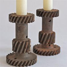 steam punk gear candle sticks