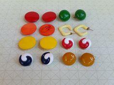 Vintage Button Earrings - Clip on Earrings - Vintage Colorful Earrings - Retro Earrings - Fun Earrings - Mod Earrings - 80s Earrings (7.00 USD) by TheVintageCinderella