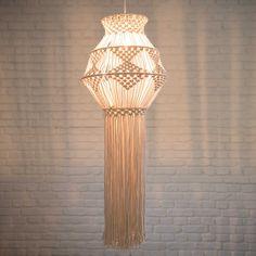 Makramee-Hängeleuchte ohne elektrischen Anschluss aus naturfarbener Baumwolle H. 100 cm