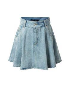 saias jeans rodada com bolsos