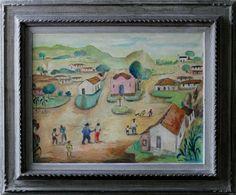 Anita Malfatti -Vilarejo -Óleo sobre tela - Assinado no canto inferior direito - medindo 50 x 65 cm