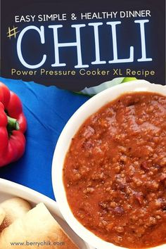 The ultimate chili recipe to impress the family. Healthy simple & easy cooking in one-pot. Did I mention delicious?! This chili recipe is easy to make with a power pressure cooker xl. Follow the recipe instruction and taste the ultimate blend of flavours. dinners meals with power pressure cooker xl recipes. Healthy thanksgiving recipes for families. Thanksgiving dinner table setting with food. Great Halloween party food ideas. Easy comfort food for fall dinner recipes. PIN it to recipe board…
