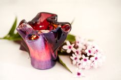 Purple Votive Candle Holder. Unique Wedding Gift by AnatArtGlass, $40.00