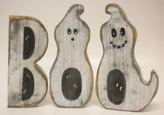 Boo Block Letters Ghosts Primitive Halloween by PearcesCraftShop